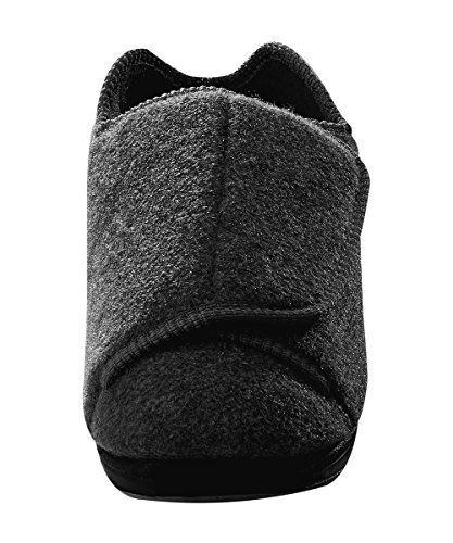 Mens Extra Extra Wide Slippers - Swollen Feet - Adjustable Closure - Black 12 (Extra Extra Wide Shoes For Swollen Feet)