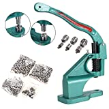 Hand Press Heavy Duty Grommet Machine with 3 Dies (#0 #2 #4) and 1500 Pcs Grommets Eyelet Tool Kit