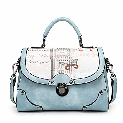 Vintga Women Simple PU Leather Metal Ring Fashion Handbag Shoulder Tote Bags (Butterfly Printing)