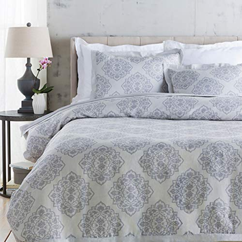 Diva At Home Blue Ashes and Dolphin Gray Decorative Elegance Damask Opulent Twin Duvet