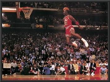 4efac69745d0 Amazon Michael Jordan Famous Foul Line Dunk 36x24 Wood Framed Poster Art  Print Vintage Sports Home
