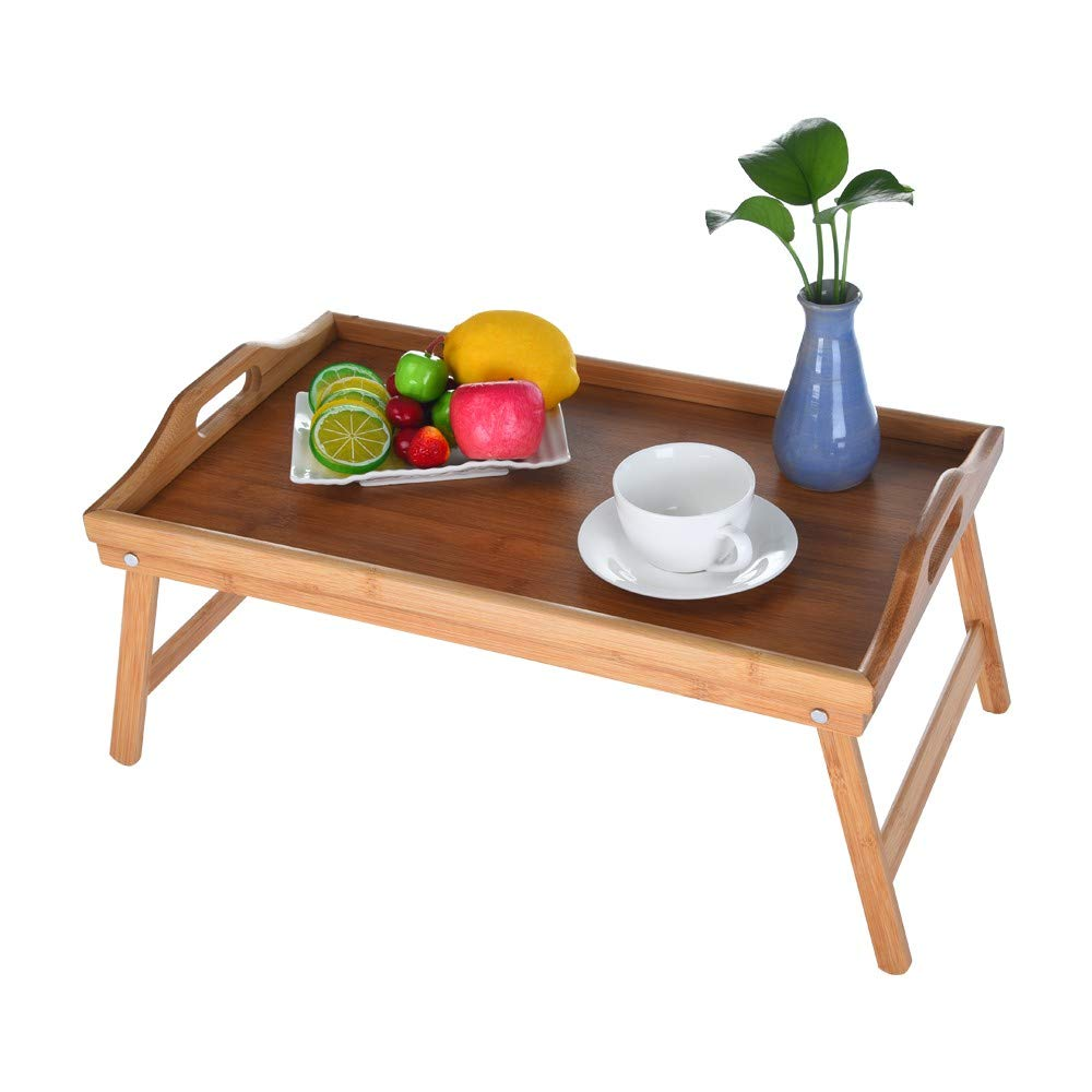 Small Folding Table Dining Japanese Style Bamboo with Foot Tray Handmade Products, No Fading, Suitable for Fruit Bowl Potted Photo Frame, Yellow (Yellow)