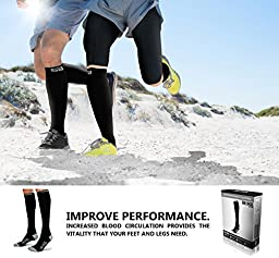 SB SOX Lite Compression Socks (15-20mmHg) for Men & Women - PREMIUM Design Ideal for Everyday Use, Running, Pregnancy, Flight & Travel, Nursing. Includes FREE E-Book! (Black/Gray, L/XL)
