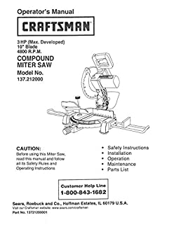craftsman 137 212000 miter saw owners instruction manual amazon com rh amazon com Old Craftsman Miter Saw Craftsman 10 Table Saw Manual