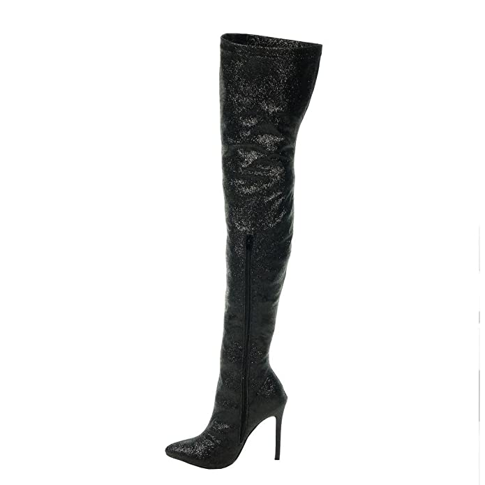 Angkorly - Women's Fashion Shoes Thigh Boot - stiletto - sexy - evening -  shiny - glitter Stiletto high heel 11 CM: Amazon.co.uk: Shoes & Bags