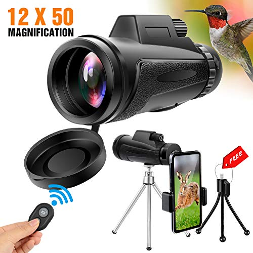Yesker Monocular Telescope, 12×50 High Power HD Dual Focus Optics BAK4 Prism Waterproof Anti-Fog Monocular for Hiking, Fishing, Hunting, Bird Watching, Travelling and Other Outdoor Activities