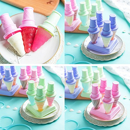 Liangxiang Set of 4 Ice Pop Mold Holders With Tray Ice-ream Cone Shapes Fresh Food Frozen Pops Fun for Kids and Adults (purple)