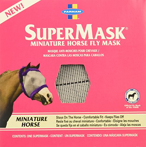 Farnam SuperMask Minature Horse Fly Mask, Gray Mesh with Purple Trim