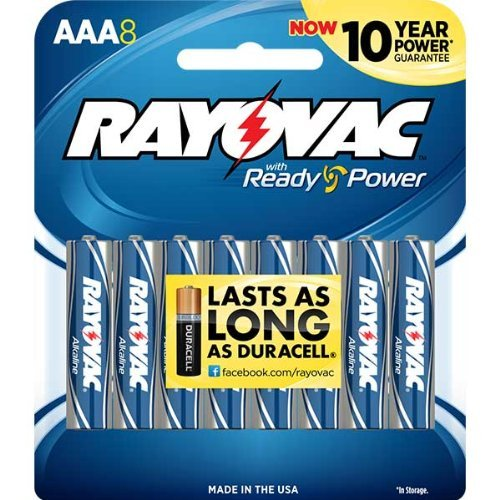 Rayovac 824 8J AAA Batteries 8 Pack