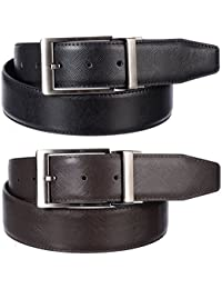 Men's 1 1/2 Wide Genuine Textured Leather Reversible Belt With Silver Buckle by Gary Majdell Sport With Gift Box
