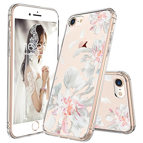 (iPhone 7 Case, iPhone 8 Case Clear, MOSNOVO White Floral Flower Petal Pattern Printed Clear Design Transparent Hard Back Case with TPU Bumper Case Cover for iPhone 7 / iPhone 8)