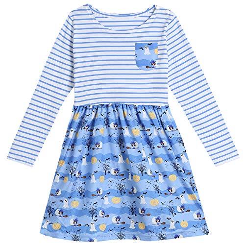 Little Girls' Halloween Pumpkin Cartoon Casual Long Sleeve Stripe Ruffles Dresses (5T) -