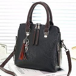 Vintage Leather Ladies Handbags Women Totestassel Crossbody Shoulder Bag Boston Hand Bags Black