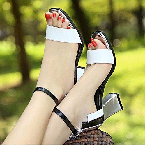 KPHY Sandalen Mädchen Sommer Studenten Exponierte Zehen Nahen Heels Heels Heels Vorrichtungen Damenschuhe Farbabstimmung Gürtel 7Cm Hochhackigen Schuhe. ea3a19
