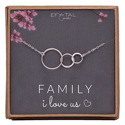 EFYTAL Family I Love Us Sterling Silver Necklace for New Mom Baby Three 3 Circles Mothers Day Jewelry Wife Gift