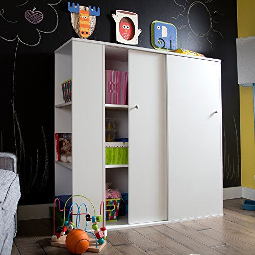 South Shore Kids Storage Cabinet with Sliding Doors, Pure White by South Shore