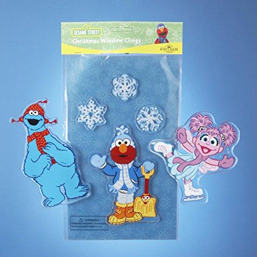 Kurt S. Adler Set of 4 Sesame Street Abby Cadabby & Snowflakes Christmas Window Clings