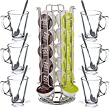 FiNeWaY@ New Revolving Rotating 24 Capsule Coffee Pod Holder Tower Stand Rack for Dolce Gusto With 6 Free Latte Glasses