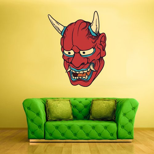 Full Color Wall Decal Mural Sticker Art Decor Asian Japan Japanese Horror Ethnic Face Mask (Col211) ()