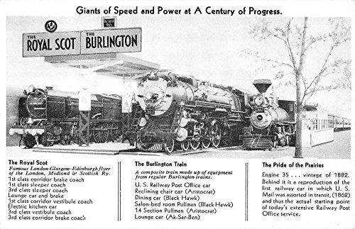 (Royal Scot And Burlington Steam Engine Trains Antique Postcard K57741)