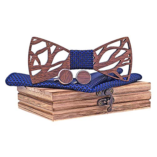 Suma-ma Men's Manual Hollow Wooden Carved Bowtie,4Pcs Bridegroom Man Handsome Bow Tie Handkerchief Cufflinks Wood Box Set(Navy,Free Size)