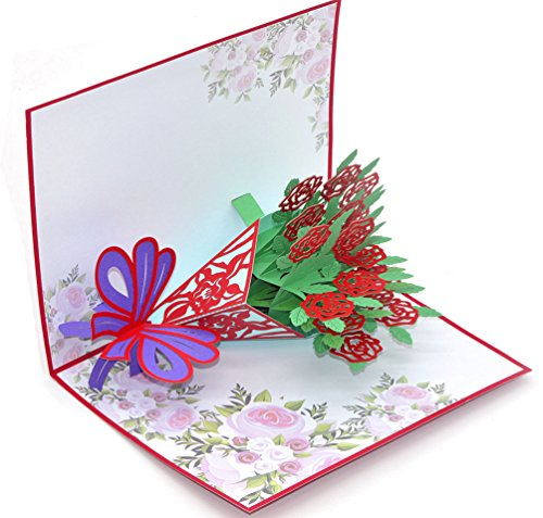 Medigy 3D Pop Up Congratulations Greeting Card A Bouquet of Red Roses for Valentines,Lovers,Couple's,Wedding,Dating,Anniversary