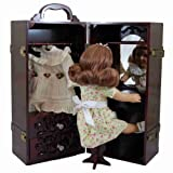"Mahogany 18"" Inch Doll Clothes Storage Closet Furniture Fits Two American Girl Dolls & Clothes Wooden Trunk Includes Removable Vanity Table, Stool, 2 Accessory Storage Drawers & 2 Hanging Rods"