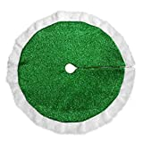 BESTOYARD Green Christmas Tree Skirt Holiday Tree Ornaments Decoration Xmas Tree Mat Cover Home Party Decor (125cm)