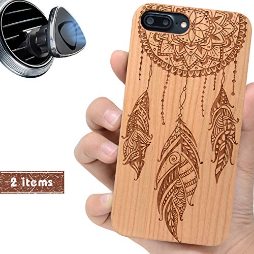 iProductsUS Wood Phone Case Compatible with iPhone 8 Plus, 7 Plus, 6 Plus and Magnetic Car Mount-Protective Cases Engraved Mandala Feathers,Built-in Metal Plate,TPU Rubber Shockproof Covers (5.5