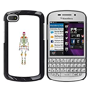 MobileHut / BlackBerry Q10 / Skeleton Anatomy Doctor Medical / Delgado Negro Plástico caso cubierta Shell Armor Funda Case Cover