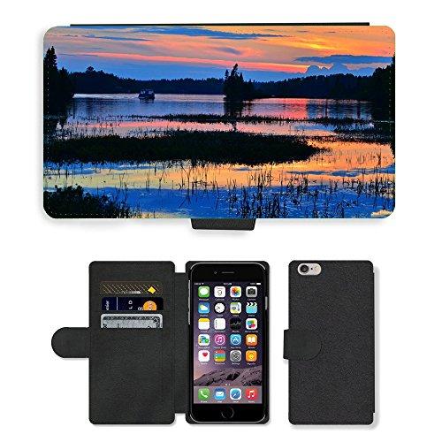 "PU Leather Cover Custodia per // M00421761 Soirée Sunset Lake Water Nature // Apple iPhone 6 4.7"""