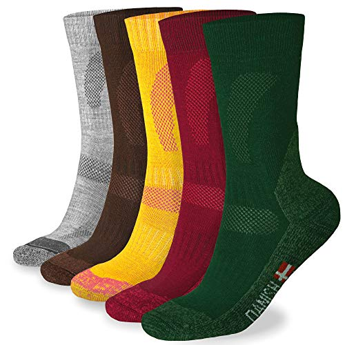 - DANISH ENDURANCE Merino Wool Hiking & Trekking Socks (Multicolor: Brown, Red, Green 3 Pairs, US Women 11-13 // US Men 9.5-12.5)
