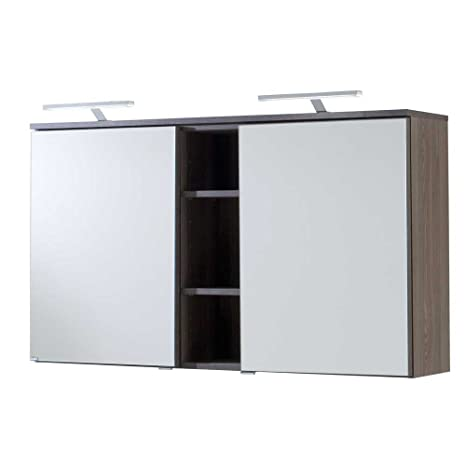 Pharao24 Badezimmer Spiegelschrank in Eiche dunkel 120 cm ...