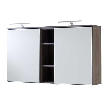 Pharao24 Badezimmer Spiegelschrank in Eiche dunkel 120 cm: Amazon.de ...