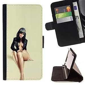 - sexy black haired beauty legs feet woman - - Prima caja de la PU billetera de cuero con ranuras para tarjetas, efectivo desmontable correa para l Funny HouseFOR LG G3