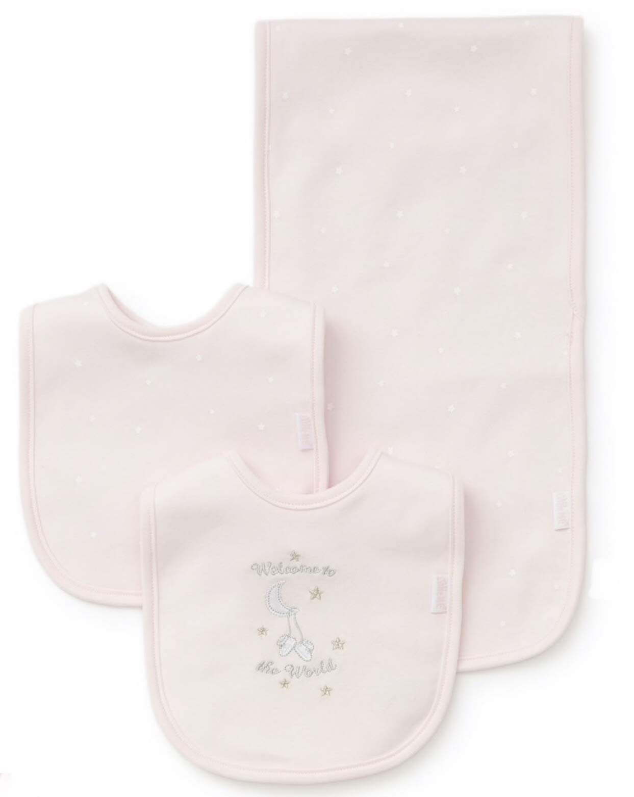 Little Me Baby Girls Bib and Burp Set, Pink, One Size