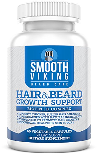 Hair and Beard Growth Vitamins for Men - With 5000 MCG Biotin & DHT Blocker for Hair Loss Treatment Supplement - Use With Smooth Viking Beard Oil & Balm + Conditioner - 60 Capsules