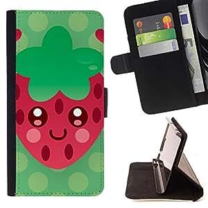 - strawberry red green heart summer love - - Prima caja de la PU billetera de cuero con ranuras para tarjetas, efectivo desmontable correa para l Funny HouseFOR Apple Iphone 6