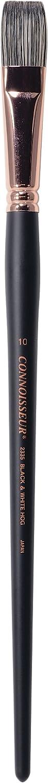 Black and White C2F Connoisseur No.2 Round Hog Bristle Long Handle Brush