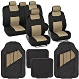 jeep car seat mat - Two-Tone PolyCloth Car Seat Covers w/ Motor Trend Dual-Accent Heavy Duty Rubber Floor Mats - Black/Beige