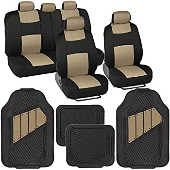 Two Tone PolyCloth Car Seat Covers W Motor Trend Dual Accent Heavy Duty Rubber Floor Mats