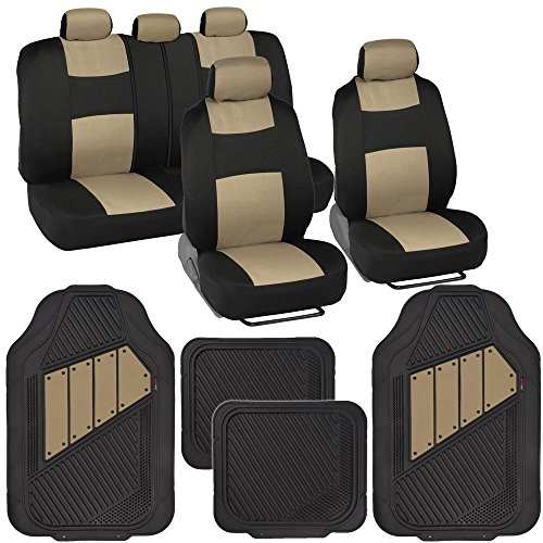 Two-Tone PolyCloth Car Seat Covers w/ Motor Trend Dual-Accent Heavy Duty Rubber Floor Mats - Black/Beige