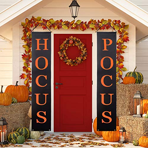 Whaline Hocus Pocus Halloween Banner Indoor/Outdoor Decorative Hanging Sign for Home Office Front Door Porch Welcome Halloween Decorations -