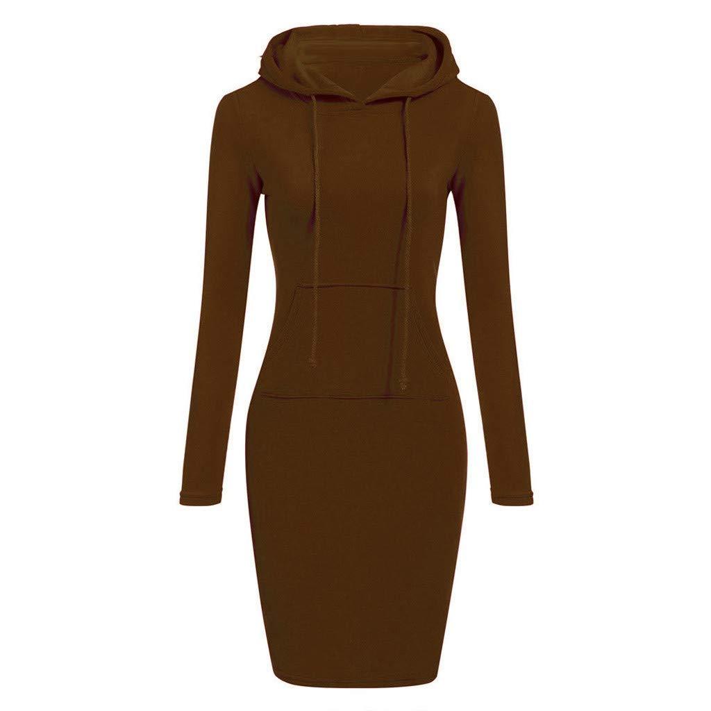 TOPUNDER Pullover Pocket Knee Length Slim Hoodie Dresses Casual Sweatshirt Dress Women (Small, Coffee)