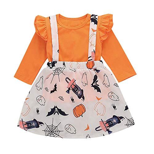 Fiaya Halloween Outfits 2 Piece Toddler Baby Girls Bud Long Sleeve Tops+Pumpkin Cartoon Strap Skirt Set (Orange, 6-12 Months)