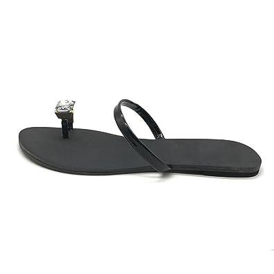 f7a5087000e03 ... Fheaven Womens Rhinestone Toe Ring Flat Shoes Anti Skidding Beach Shoes  Sandals Slipper (US release . ...