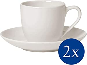 For Me Espresso Cup and Saucer Set of 4 by Villeroy & Boch - Premium Porcelain - Made in Germany - Dishwasher and Microwave Safe - Service for 2