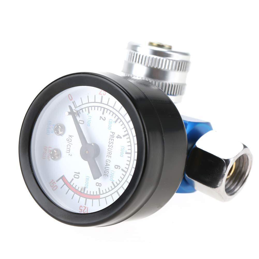 Regulador de presi/ón de aire 1//4Pistola de pintura en aerosol Regulador de presi/ón de aire Medidor de presi/ón Accesorio de herramienta neum/ática