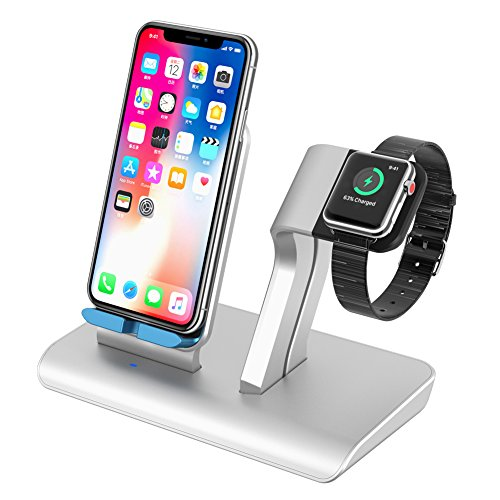 Battery Charger Stand - Apple Watch Stand UPWADE Qi Wireless Charging Pad Stand Universal Desktop Charging Stand with USB Charger 3 in 1 Charging Station for iPhone 6 7 8 X Plus iWatch iPad Multiple Devices
