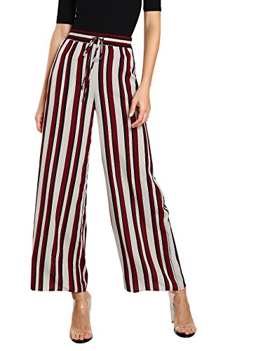 SweatyRocks Women's Striped High Waisted Lounge Wide Leg Palazzo Pants Capris (Small, Red_White) (Cropped Tie Capri)